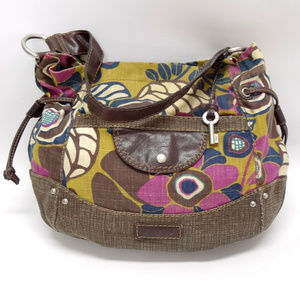 Fossil Floral Canvas w/Leather Trim Large Hobo
